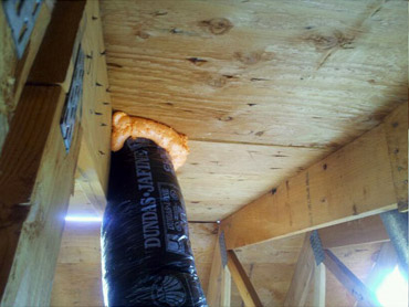 example view of proper sealing of attic ducts tubing