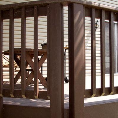 new cedar decking railing